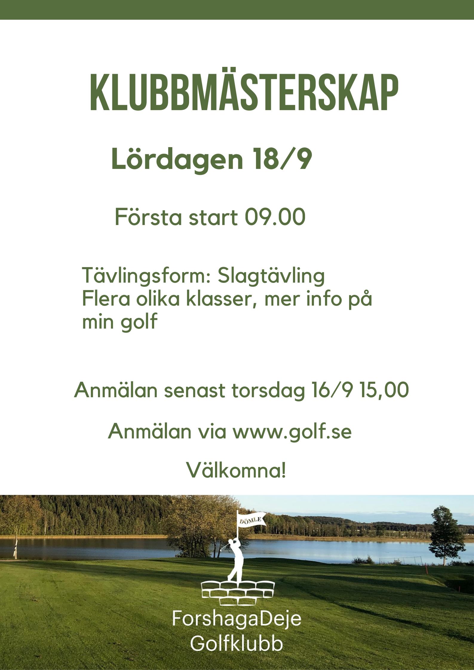 """Featured image for """"Välkommen till Klubbmästerskap 18/9"""""""